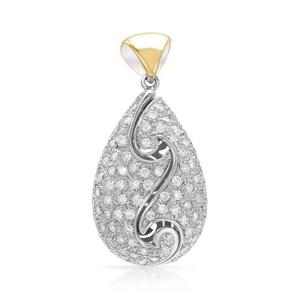 Natural 1.86 CTW Diamond & Pendant 18K Two Tone Gold - REF-233Y3N