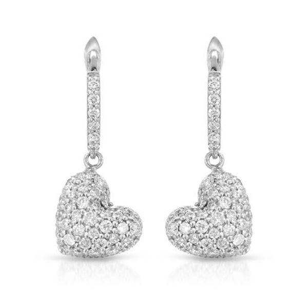 Natural 0.85 CTW Diamond Earrings 18K White Gold - REF-102R6K