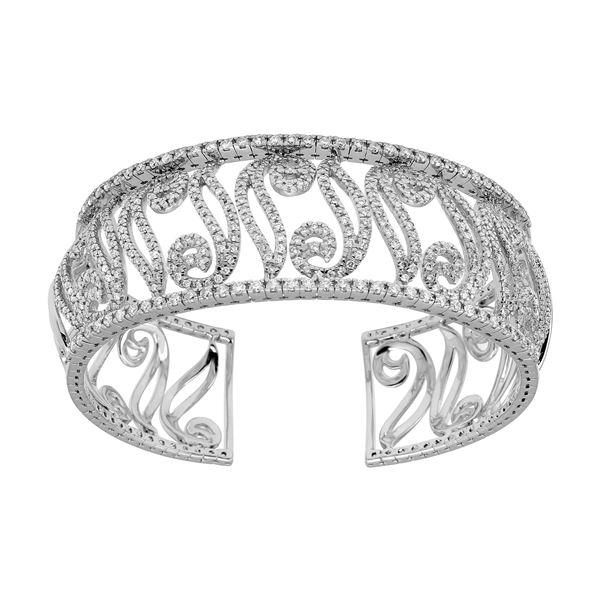 Natural 4.95 CTW Diamond Bangle 14K White Gold - REF-630R9K
