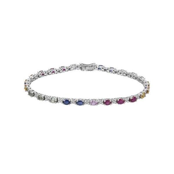 Natural 7.04 CTW Multi-Sapphire & Diamond Bracelet 14K White Gold - REF-144R2K