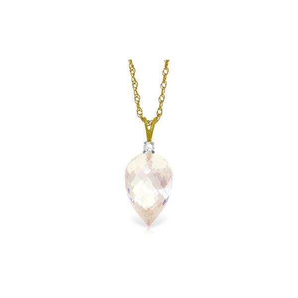 Genuine 12.3 ctw White Topaz & Diamond Necklace 14KT Yellow Gold - REF-30K7V