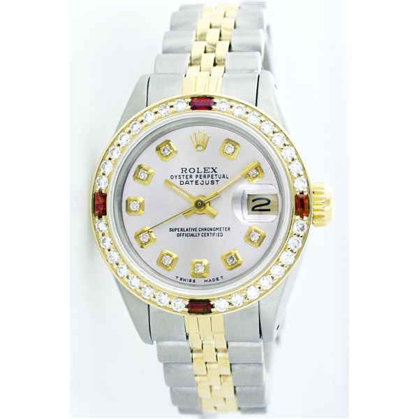 Rolex Pre-owned 26mm Womens Custom Silver Two Tone