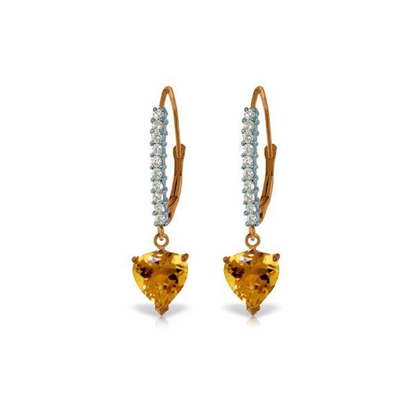 Genuine 3.55 ctw Citrine & Diamond Earrings 14KT Rose Gold - REF-62Z2N