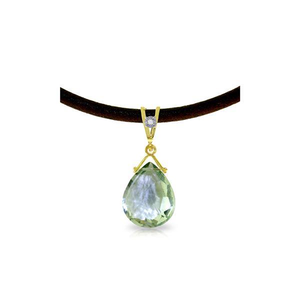 Genuine 6.51 ctw Green Amethyst & Diamond Necklace 14KT Yellow Gold - REF-26A9K