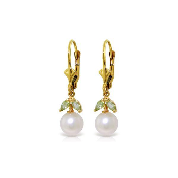 Genuine 4.4 ctw Pearl & Peridot Earrings 14KT Yellow Gold - REF-20N4R
