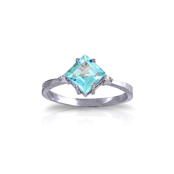 Genuine 1.77 ctw Blue Topaz & Diamond Ring 14KT White Gold - REF-28A8K