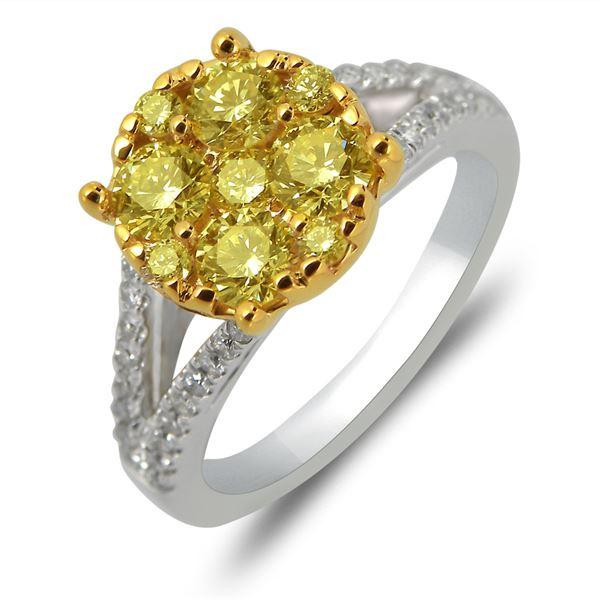 Natural 1.48 CTW Diamond Ring 14K White Gold - REF-229Y5N