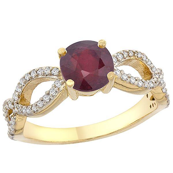 1.30 CTW Ruby & Diamond Ring 10K Yellow Gold - REF-50Y5V