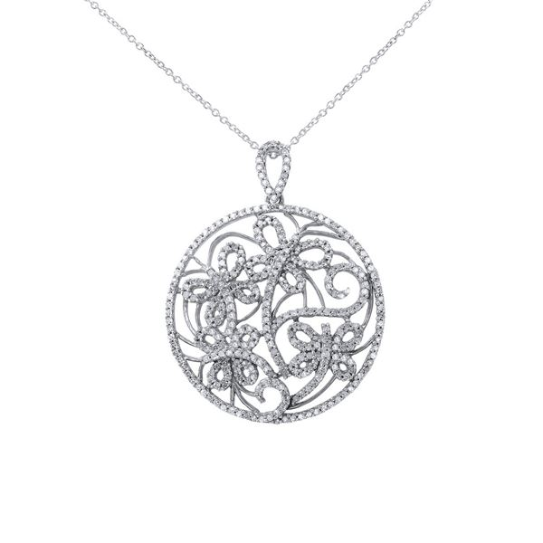 Natural 0.79 CTW Diamond Necklace 14K White Gold - REF-90Y2N
