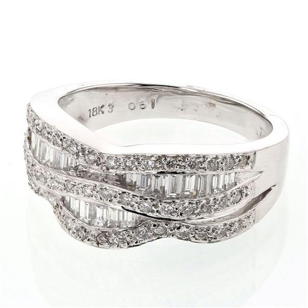 Natural 0.76 CTW Baguette & Diamond Ring 18K White Gold - REF-127Y8N