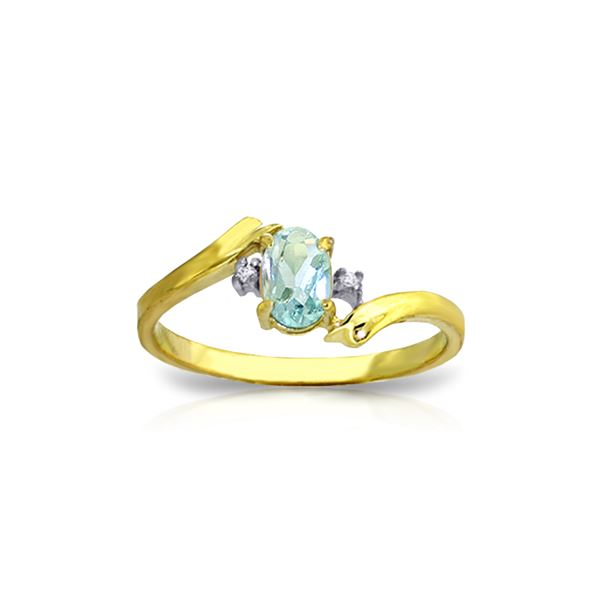Genuine 0.46 ctw Aquamarine & Diamond Ring 14KT Yellow Gold - REF-29P3H