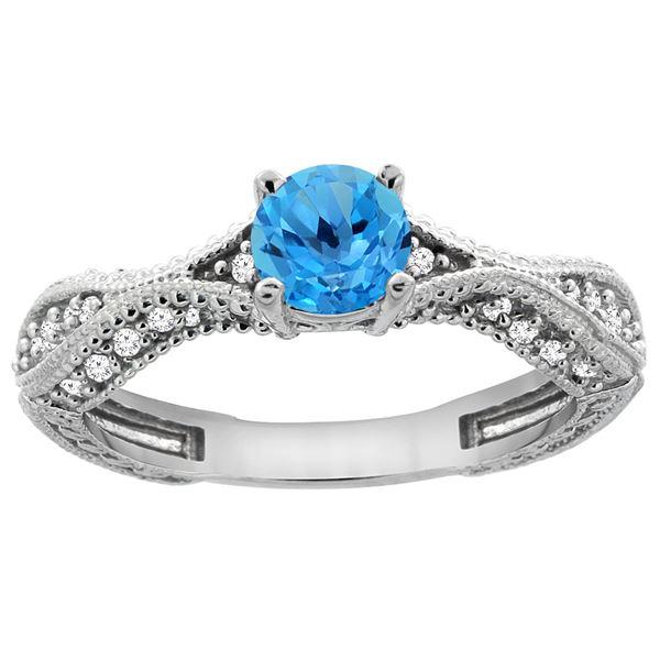 0.81 CTW Swiss Blue Topaz & Diamond Ring 14K White Gold - REF-67M8K