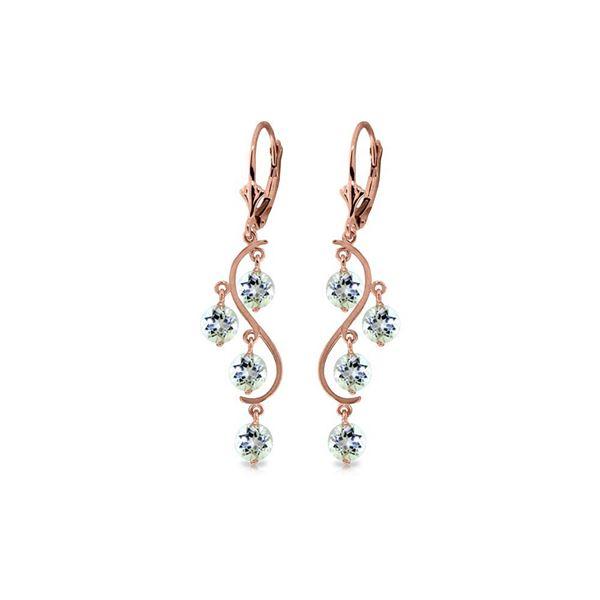Genuine 4.5 ctw Aquamarine Earrings 14KT Rose Gold - REF-66N2R