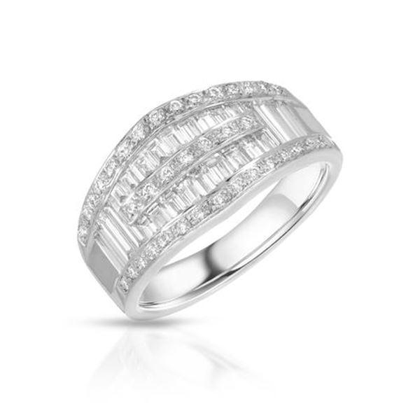 Natural 1.32 CTW Diamond & Baguette Ring 18K White Gold - REF-194H4W