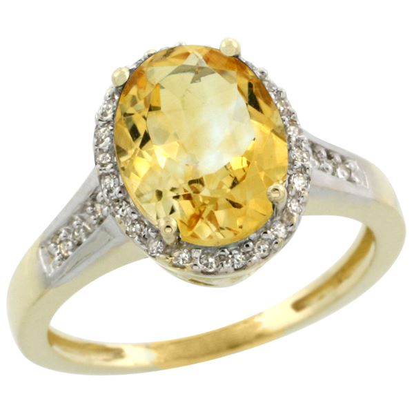 2.60 CTW Citrine & Diamond Ring 10K Yellow Gold - REF-46M7A