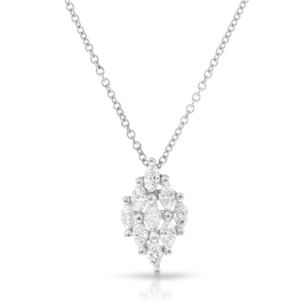 Natural 0.41 CTW Marquise Necklace 18K White Gold - REF-70H2W