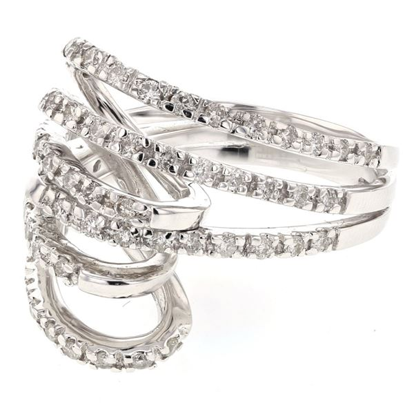 Natural 0.73 CTW Diamond Ring 18K White Gold - REF-144X9T