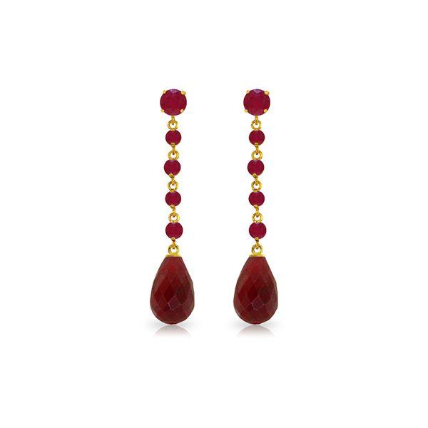 Genuine 31.6 ctw Ruby Earrings 14KT Yellow Gold - REF-55F2Z
