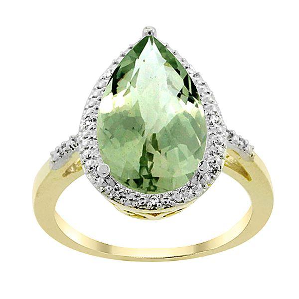 5.55 CTW Amethyst & Diamond Ring 10K Yellow Gold - REF-34N8Y