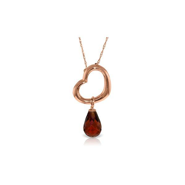 Genuine 2.25 ctw Garnet Necklace 14KT Rose Gold - REF-27A4K