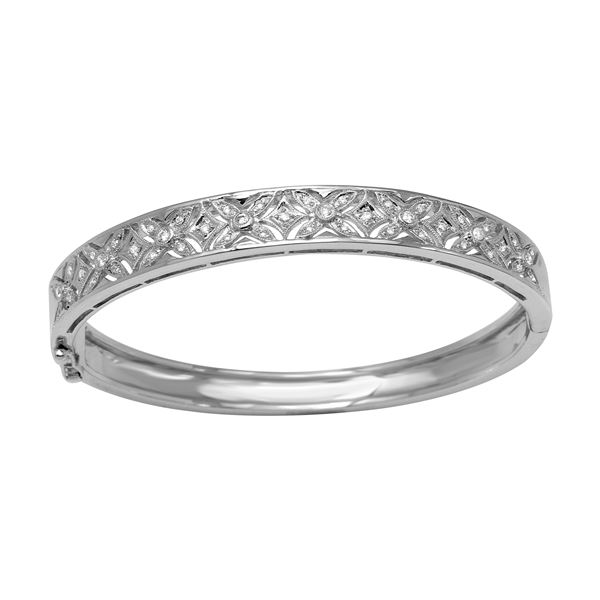 Natural 0.40 CTW Diamond Bracelet 18K White Gold - REF-326M7F