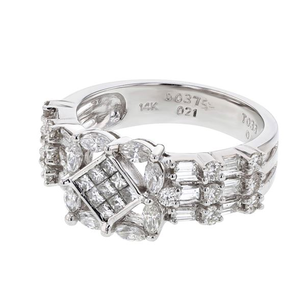 Natural 1.31 CTW Marquise & Diamond Ring 14K White Gold - REF-171Y9N