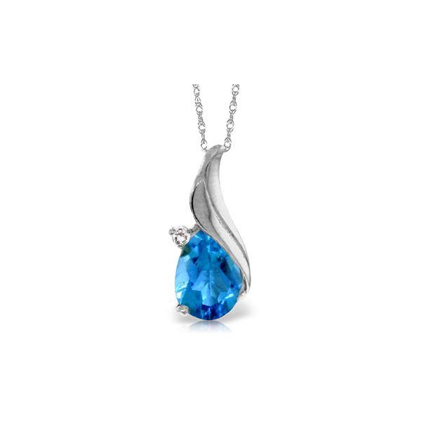 Genuine 2.53 ctw Blue Topaz & Diamond Necklace 14KT White Gold - REF-36N2R