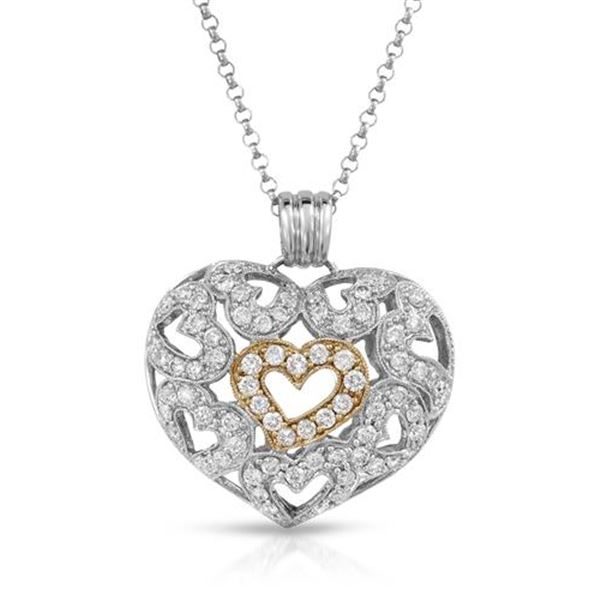 Natural 1.92 CTW Diamond Necklace 14K Two Tone Yellow Gold - REF-225M2F