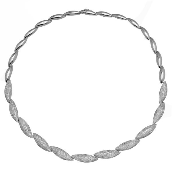 Natural 5.51 CTW Diamond Necklace 14K White Gold - REF-599X4T