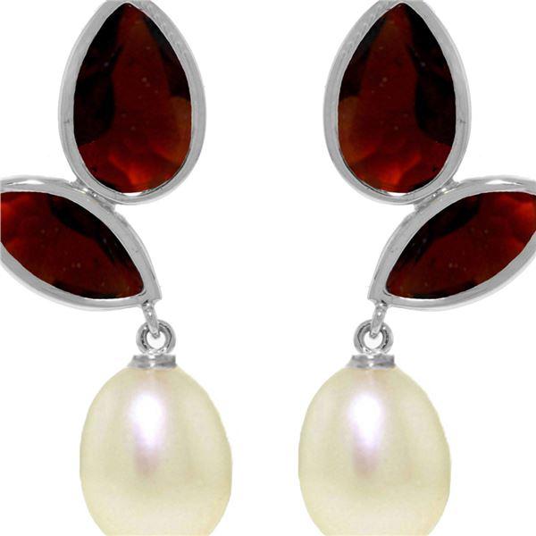 Genuine 16 ctw Pearl, Garnet & Garnet Earrings 14KT White Gold - REF-42Z2N