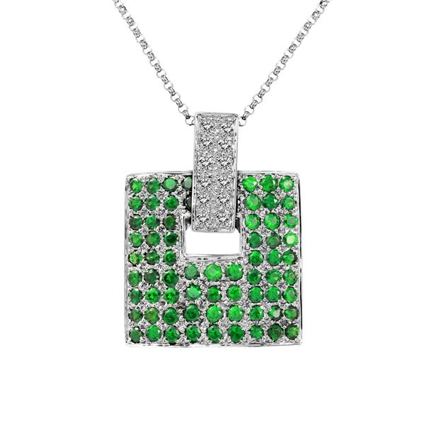 Natural 2.02 CTW Garnet & Diamond Necklace 14K White Gold - REF-90M9F