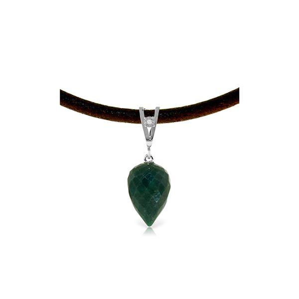 Genuine 13.01 ctw Emerald & Diamond Necklace 14KT White Gold - REF-42H4X