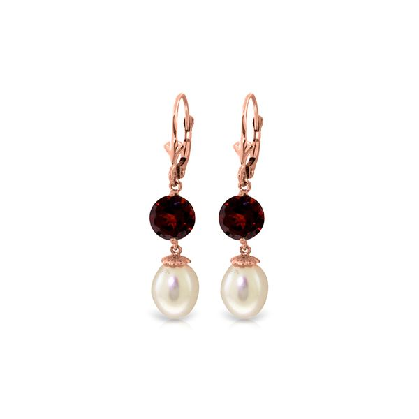 Genuine 11.10 ctw Pearl & Garnet Earrings 14KT Rose Gold - REF-26W6Y