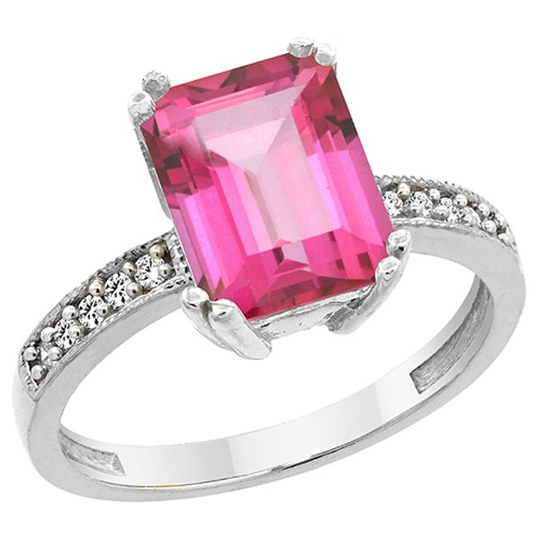 3.70 CTW Pink Topaz & Diamond Ring 14K White Gold - REF-40N2Y