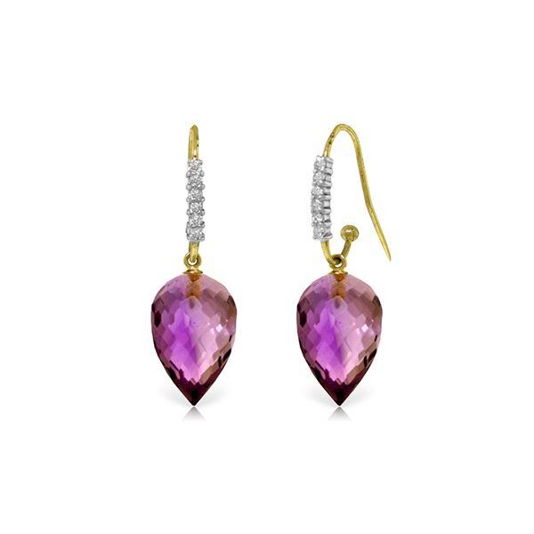 Genuine 19.18 ctw Amethyst & Diamond Earrings 14KT Yellow Gold - REF-52X9M