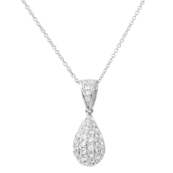 Natural 0.68 CTW Diamond & Pendant 18K White Gold - REF-72T2X