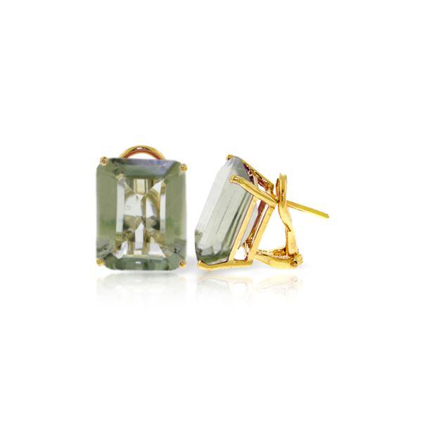 Genuine 13 ctw Green Amethyst Earrings 14KT Yellow Gold - REF-53Y2F