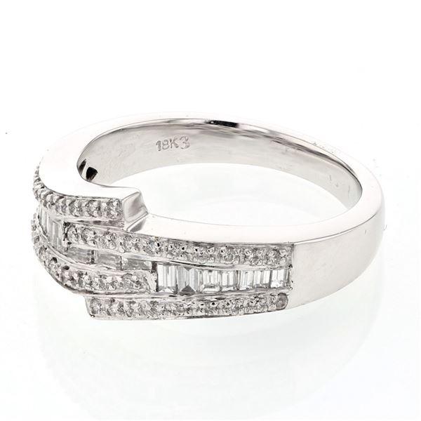 Natural 0.47 CTW Baguette & Diamond Ring 18K White Gold - REF-102F6M