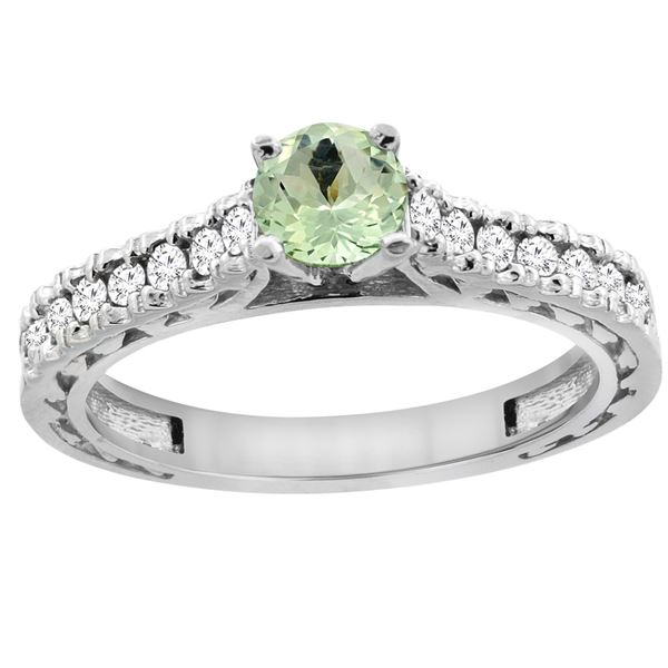 0.72 CTW Amethyst & Diamond Ring 14K White Gold - REF-62M3K