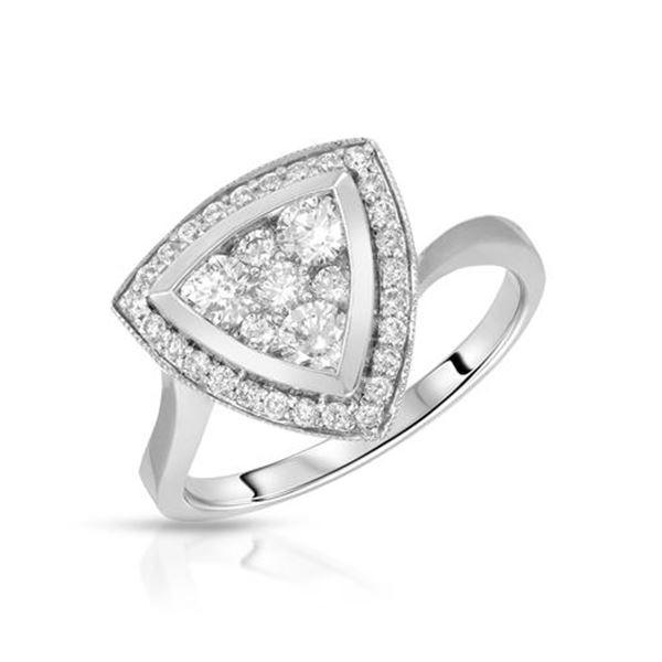 Natural 0.75 CTW Diamond Ring 14K White Gold - REF-108K2R