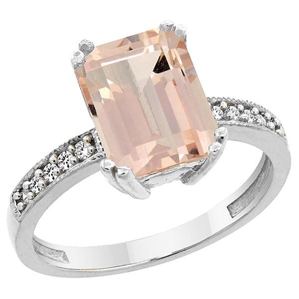 2.95 CTW Morganite & Diamond Ring 10K White Gold - REF-52H2M