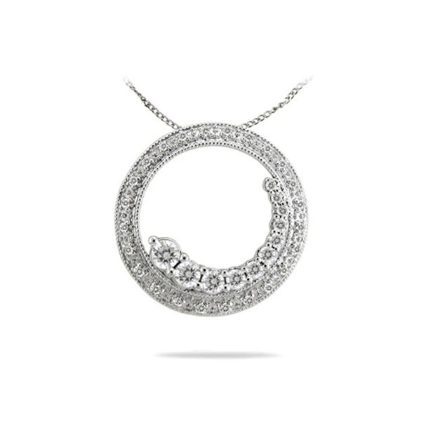 Natural 0.50 CTW Diamond Necklace 14K White Gold - REF-70K2R