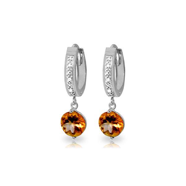 Genuine 2.53 ctw Citrine & Diamond Earrings 14KT White Gold - REF-54M6T