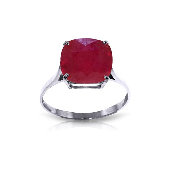 Genuine 6.75 ctw Ruby Ring 14KT White Gold - REF-70W6Y