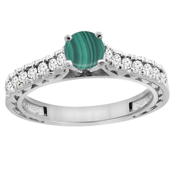 1.66 CTW Malachite & Diamond Ring 14K White Gold - REF-62V5R