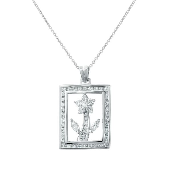 Natural 1.05 CTW Diamond & Marquise Necklace 18K White Gold - REF-122K4R