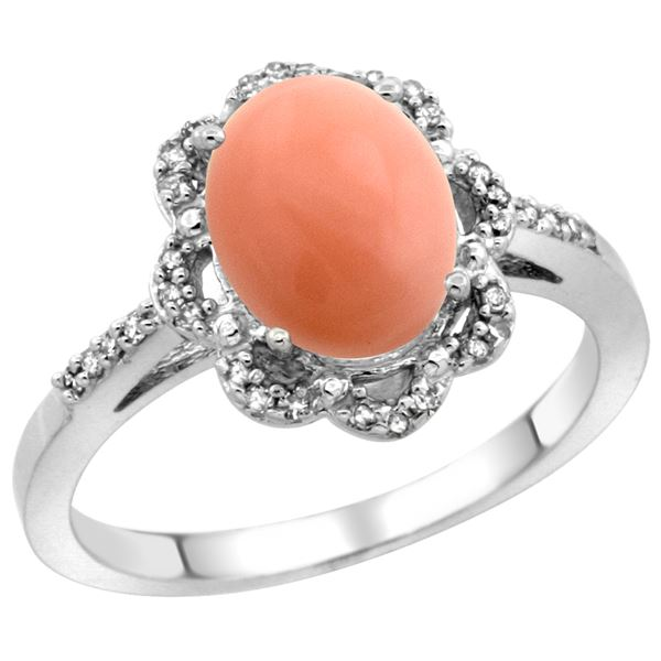 0.10 CTW Diamond & Natural Coral Ring 10K White Gold - REF-36W2F