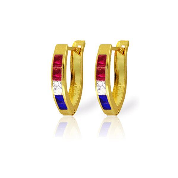 Genuine 1.28 ctw Ruby, White Topaz & Sapphire Earrings 14KT Yellow Gold - REF-26W7Y
