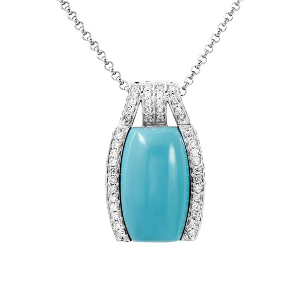 Natural 13.19 CTW Turquoise & Diamond Necklace 14K White Gold - REF-111W6H
