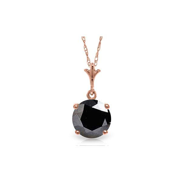 Genuine 1.0 ctw Black Diamond Necklace 14KT Rose Gold - REF-72Z7N